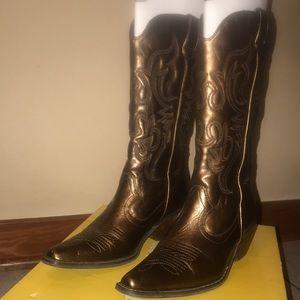 Charlotte Russe hoedown gold cowboy boot